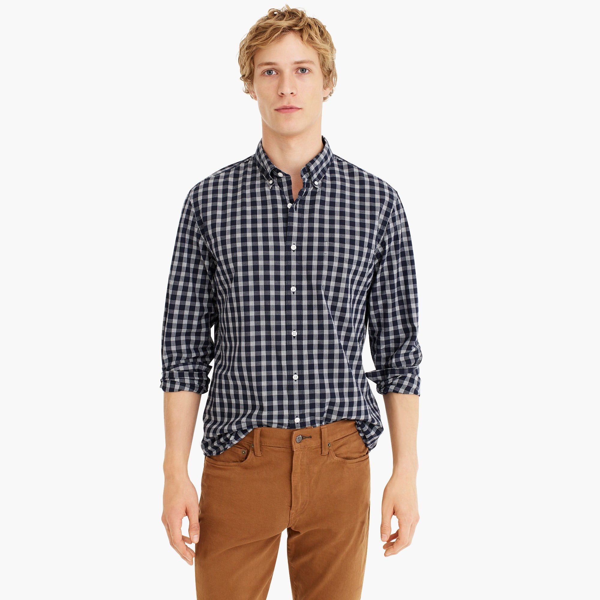 Stretch Secret Wash shirt in heathered glen plaid