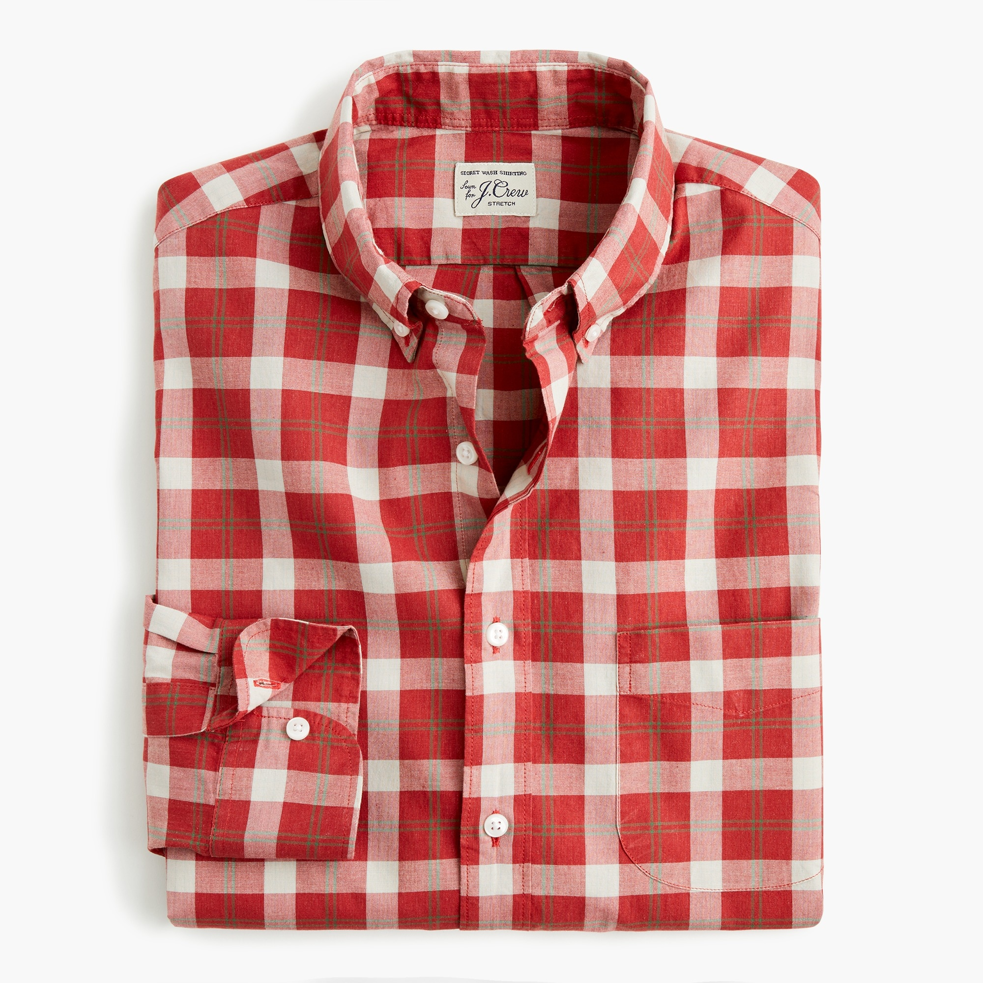Classic Stretch Secret Wash shirt in criss-cross plaid