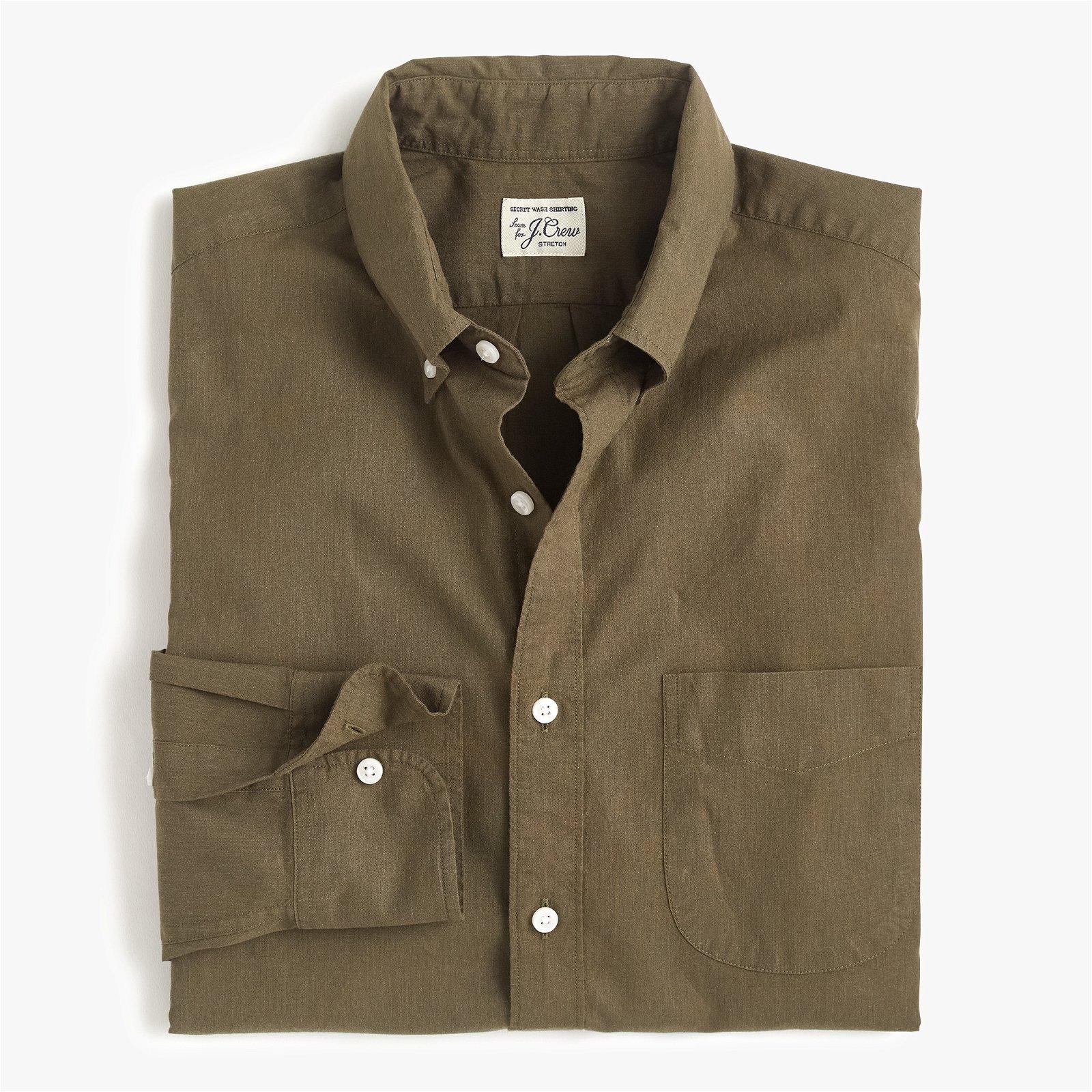 Classic Stretch Secret Wash shirt in solid heathered poplin