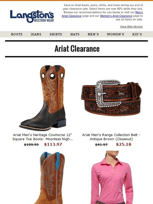 18c699817872a Langston's: 👢 Ariat Clearance: 40% Off Boots, Shirts, Jeans, and more. |  Milled