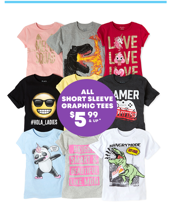 All Short Sleeve Graphic Tees $5.99 & Up