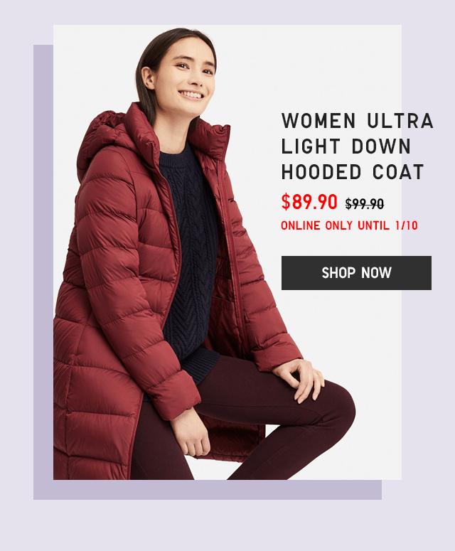 WOMEN ULTRA LIGHT DOWN HOODED COAT $89.90 - SHOP NOW