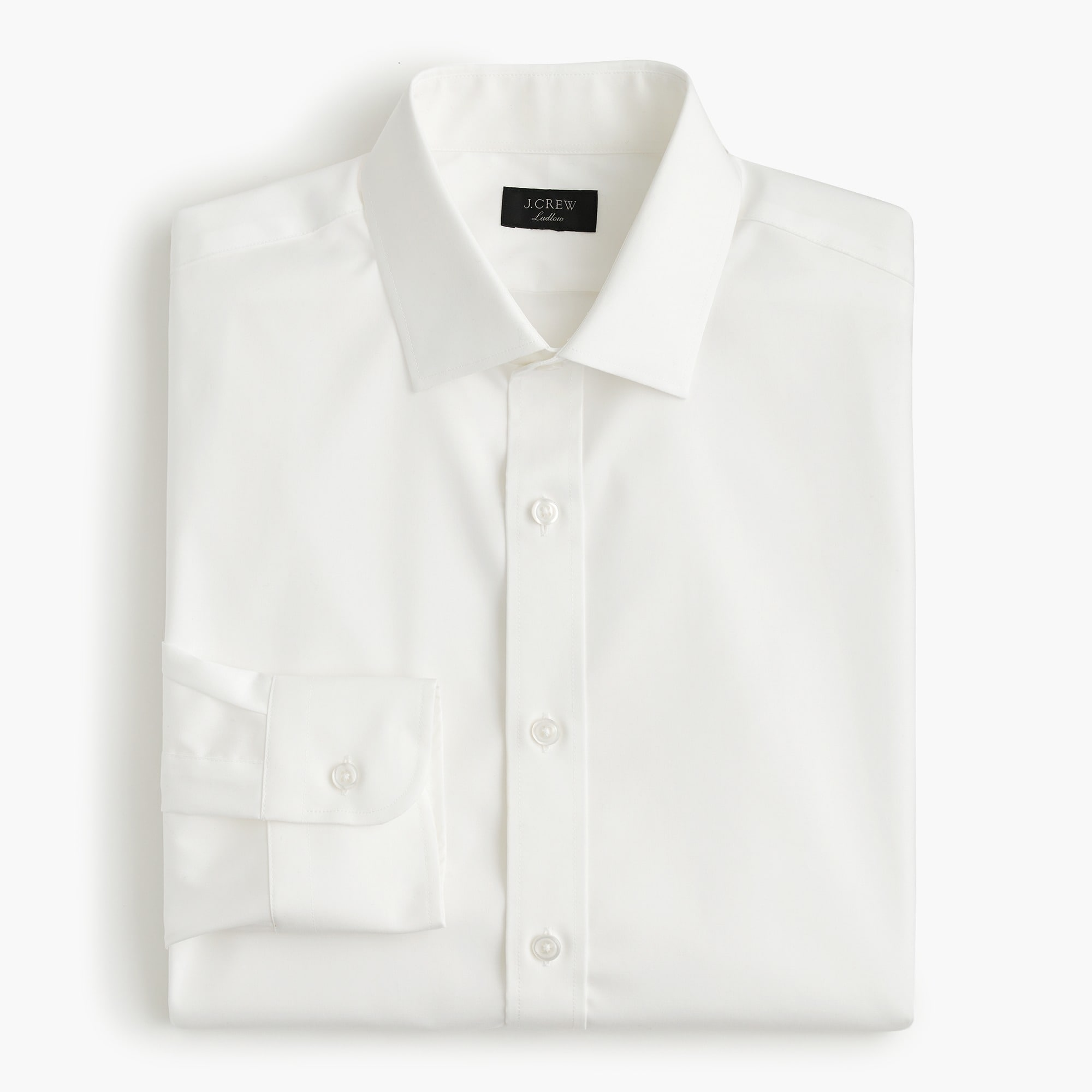Classic Ludlow stretch two-ply easy-care cotton dress shirt in solid
