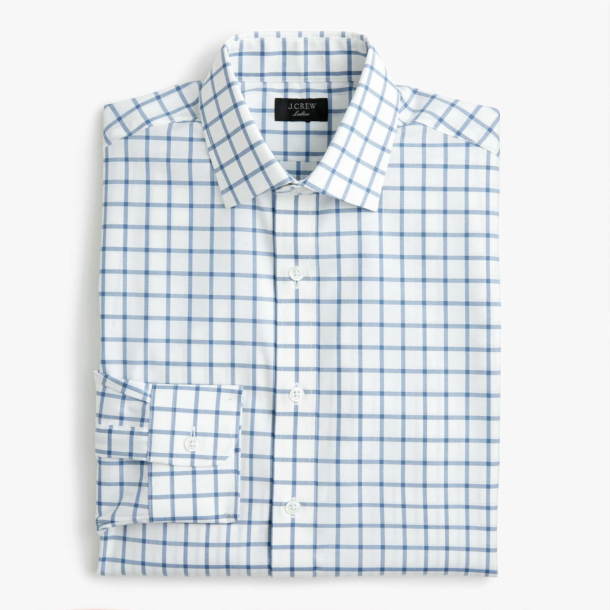 Classic Ludlow stretch two-ply easy-care cotton dress shirt in mini windowpane