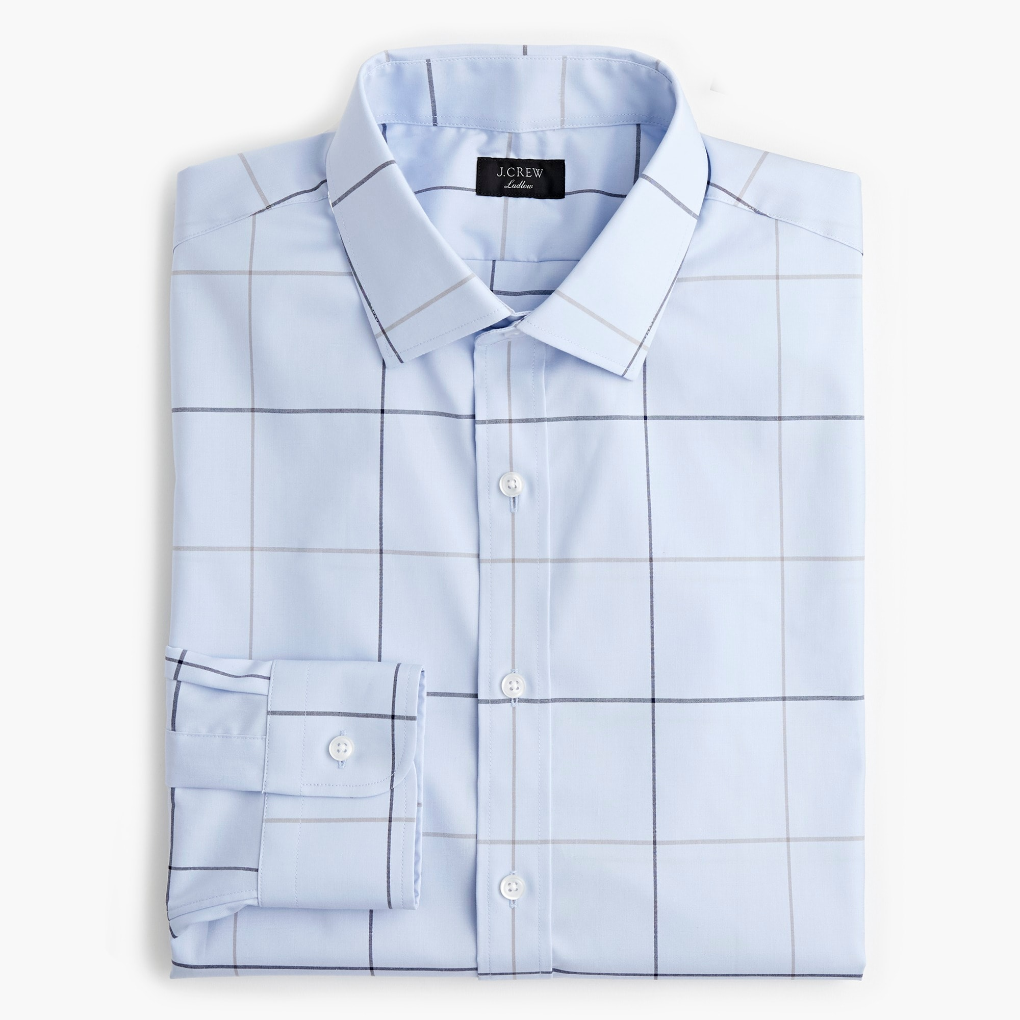 Classic Ludlow stretch two-ply easy-care cotton dress shirt in sky tattersall