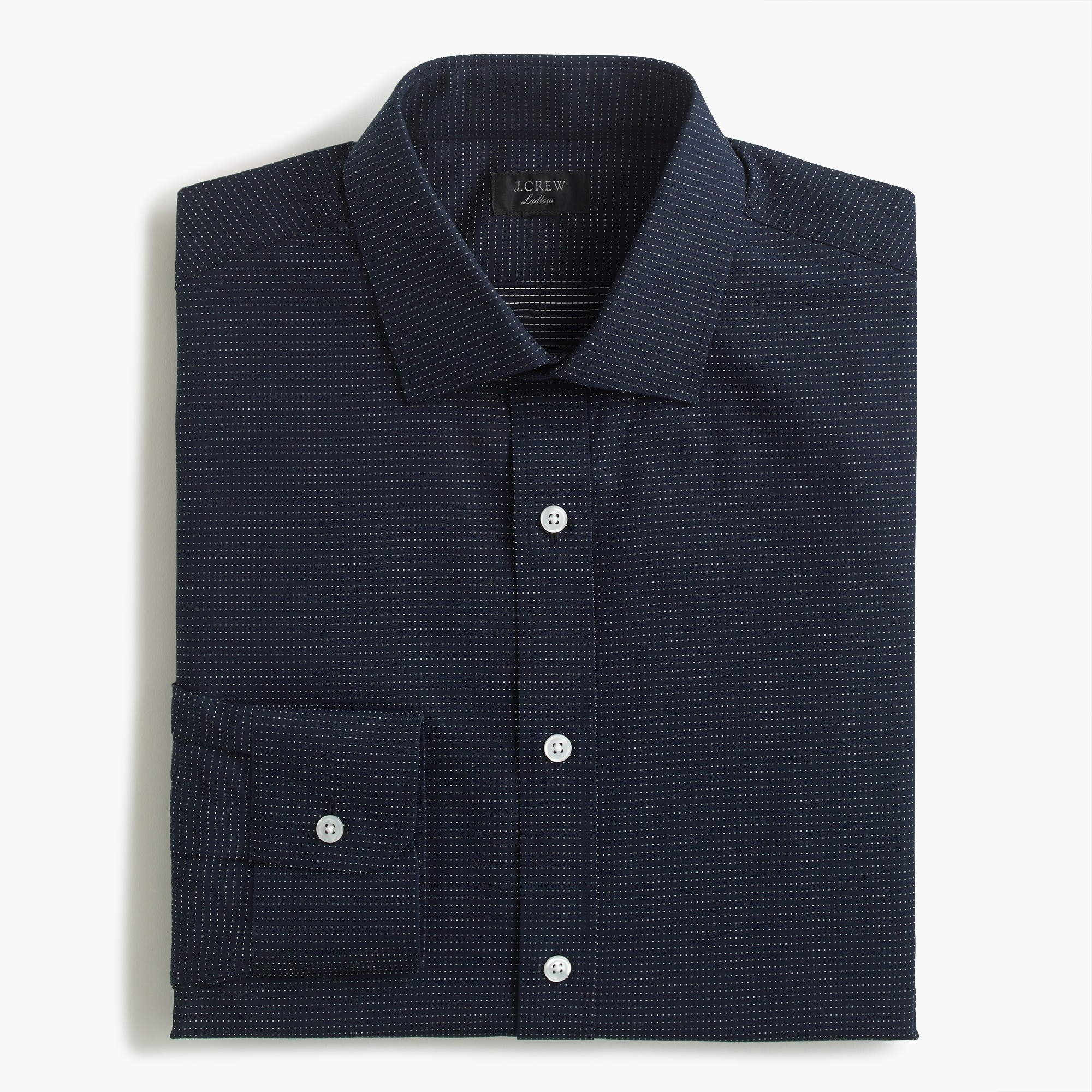 Classic Ludlow stretch two-ply easy-care cotton dress shirt in dobby print