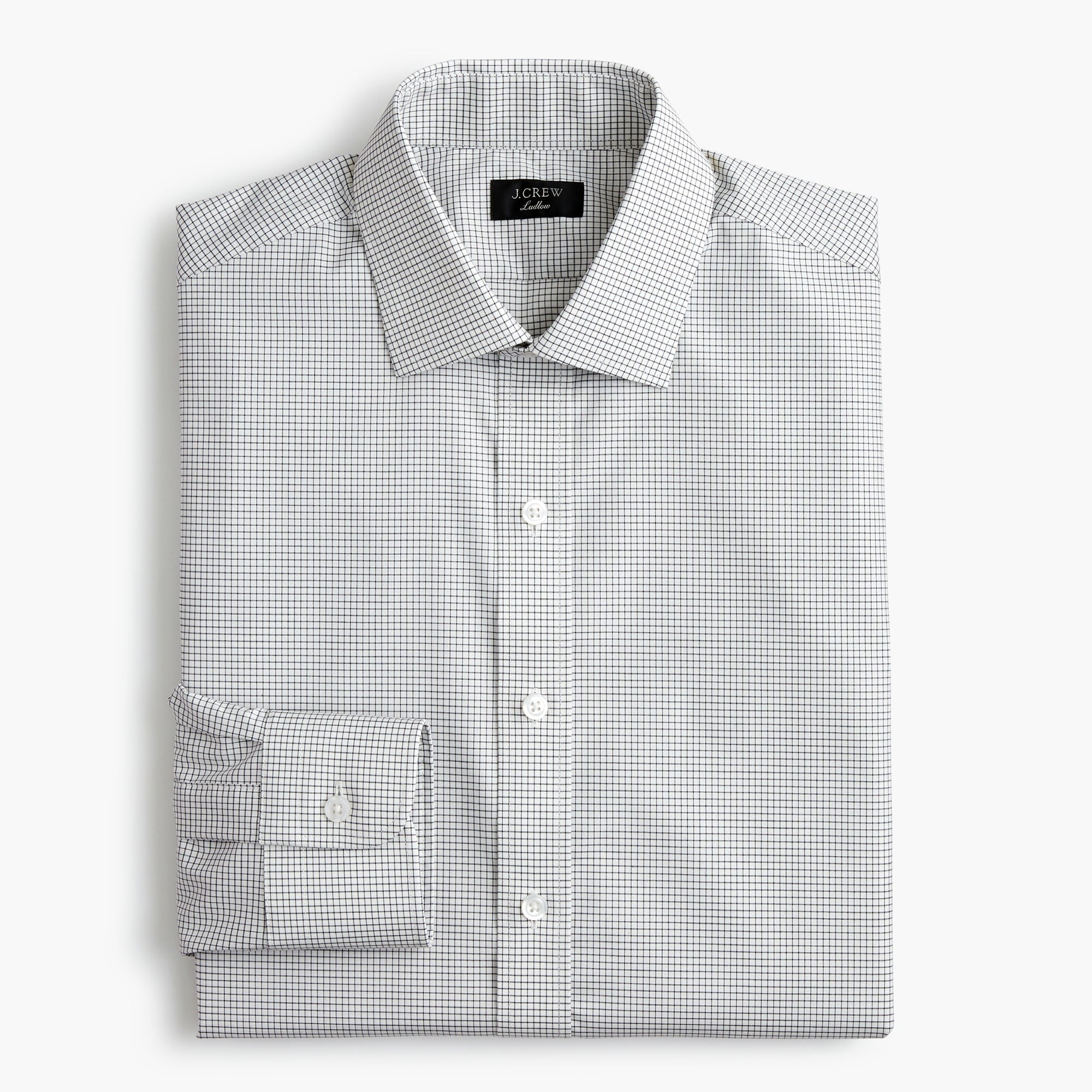 Classic Ludlow stretch two-ply easy-care cotton dress shirt in microcheck