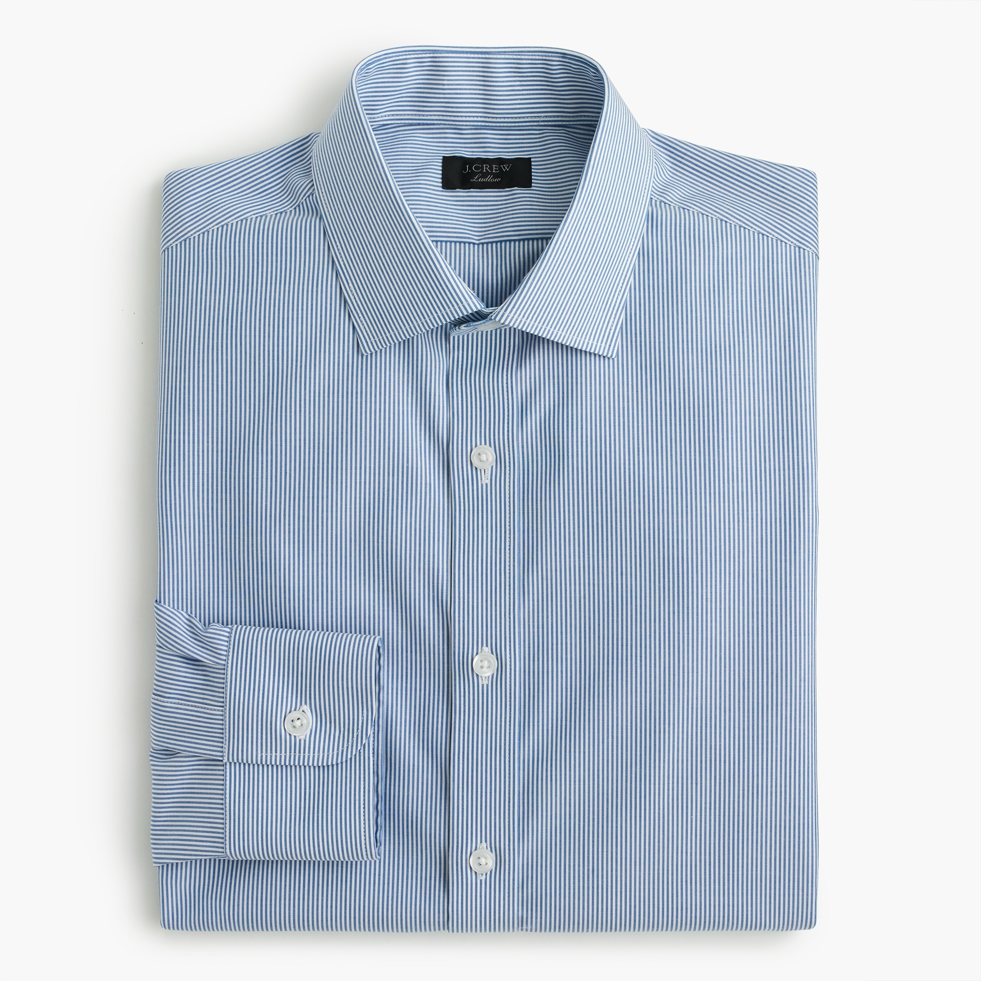 Classic Ludlow stretch two-ply easy-care cotton dress shirt in blue microstripe