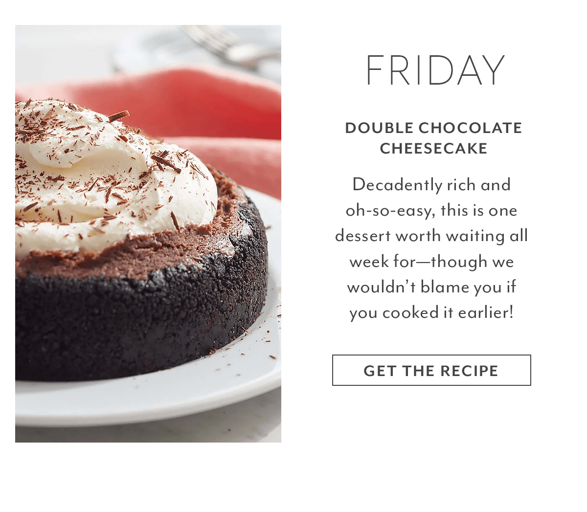 Recipe - Double Chocolate Cheesecake