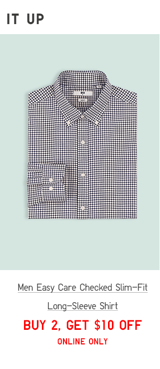 MEN EASY CARE CHECKED SLIM-FIT LONG-SLEEVE SHIRT - BUY 2, GET $10 OFF