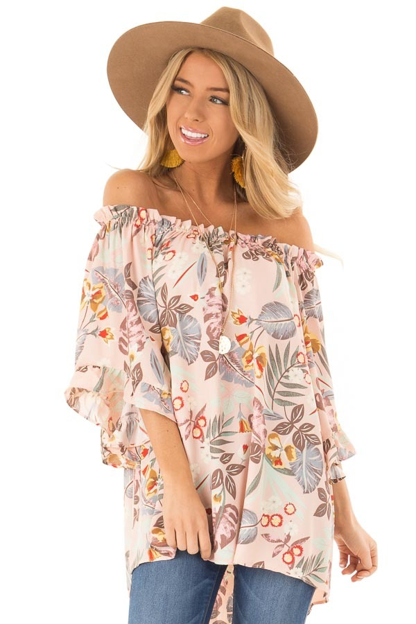 bbbf3ac3338fe5 Pastel Pink Floral Off the Shoulder Top with Flowy Sleeves ...