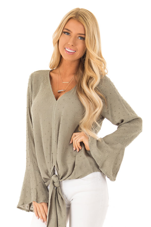 fdcfac9e24c122 ... Olive Swill Dot Long Bell Sleeve V Neck Top with Front Tie ...