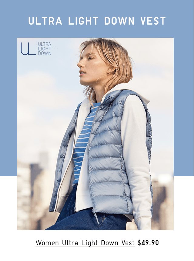 WOMEN ULTRA LIGHT DOWN VEST $49.90