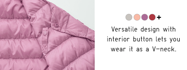 VERSATILE DESIGN WITH INTERIOR BUTTON LETS YOU WEAR IT AS A V-NECK.