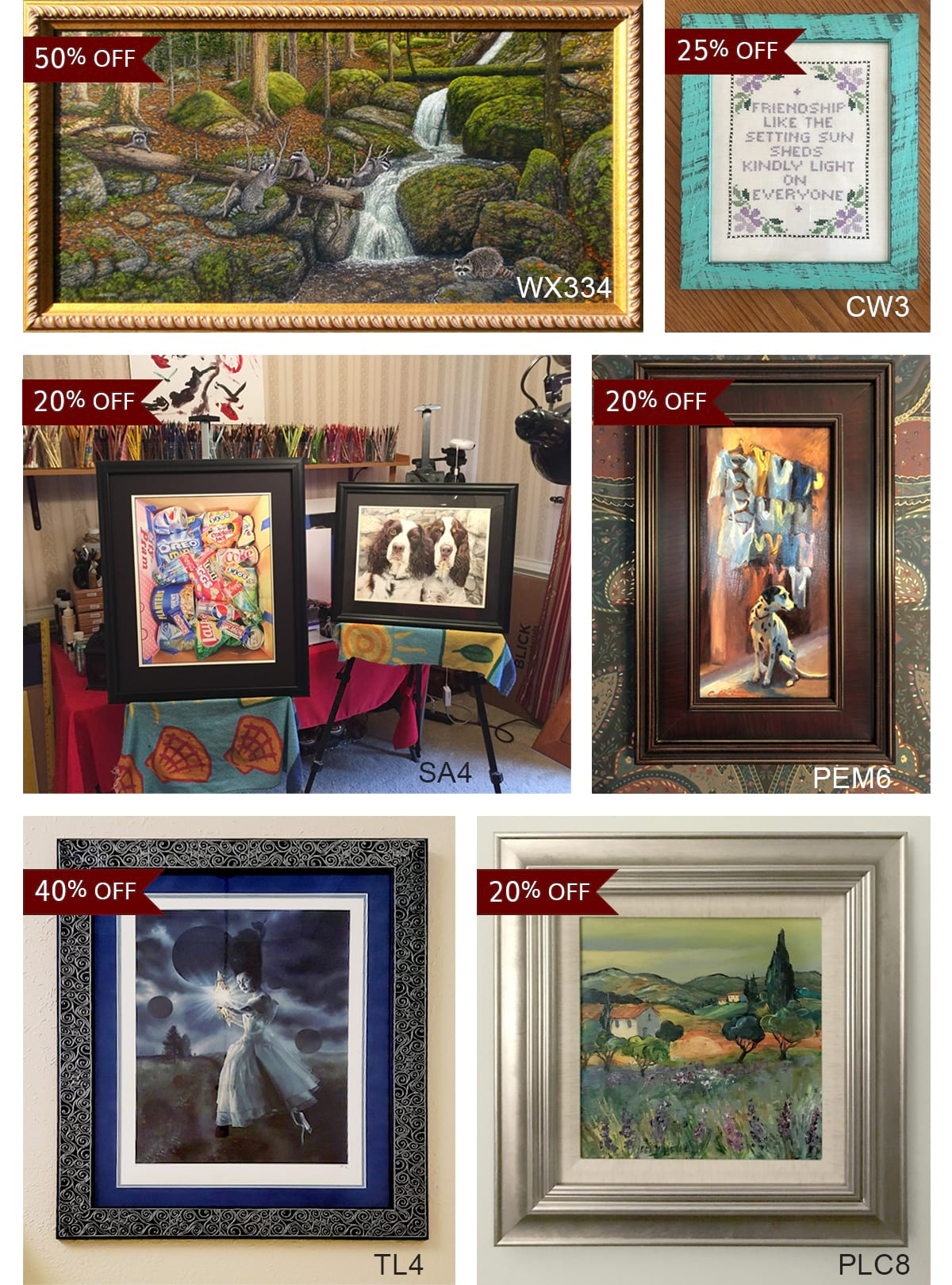 Gallery of customer created images created with sale frames