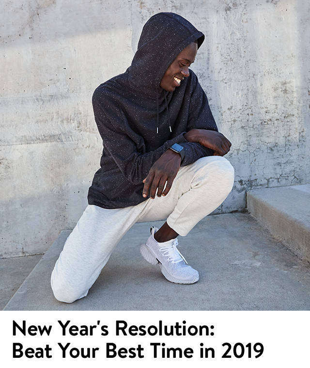 New year's resolution, beat your best time in 2019. Workout gear for men.
