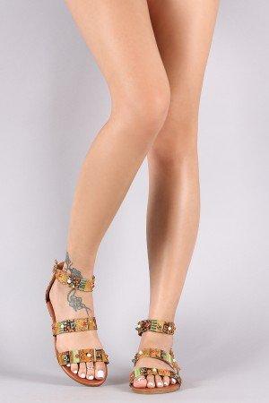 fbb2f81147d458 Tribal Print Jeweled Accent Triple Band Flat Sandal