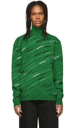 Balenciaga - Green Wool Jacquard Turtleneck