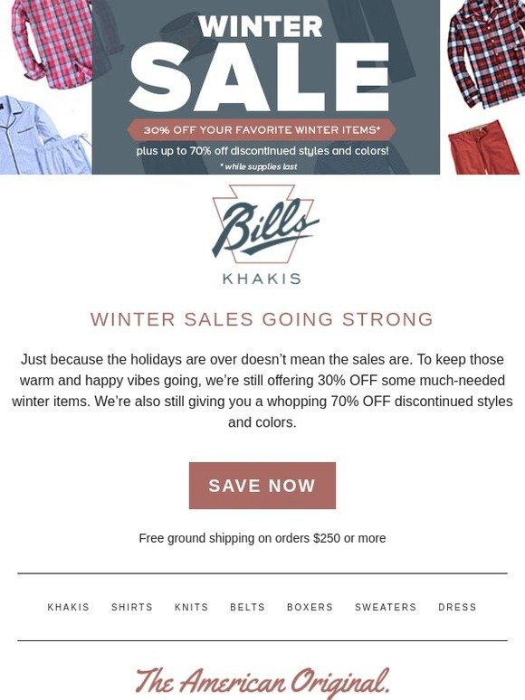 Bills Khakis: Winter Sale is heating up with up to 70% off