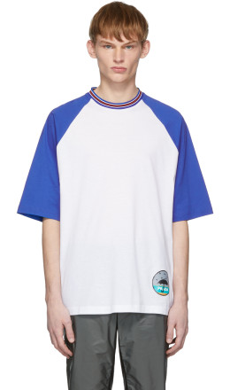 Prada - White & Blue Graphic T-Shirt