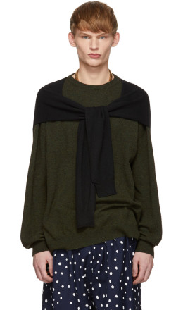 Loewe - Khaki & Black Cashmere Shoulder Sleeve Sweater