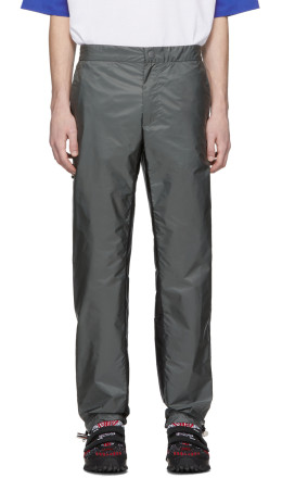 Prada - Grey & Black Drawstring Trousers