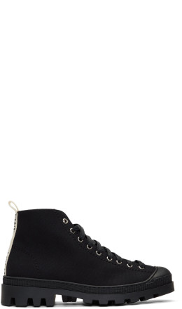 Loewe - Black Canvas Lace-Up Boots
