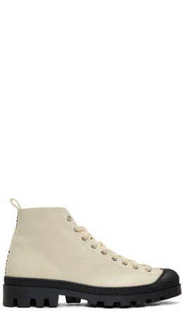 Loewe - Off-White & Black Canvas Lace-Up Boots