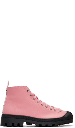 Loewe - Pink & Black Canvas Lace-Up Boots
