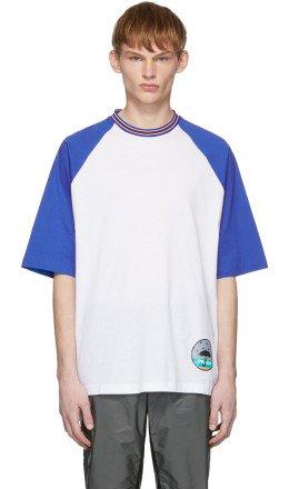 Prada - White & Blue Graphic T-Shirt