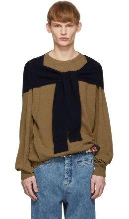 Loewe - Beige & Navy Cashmere Shoulder Sleeve Sweater