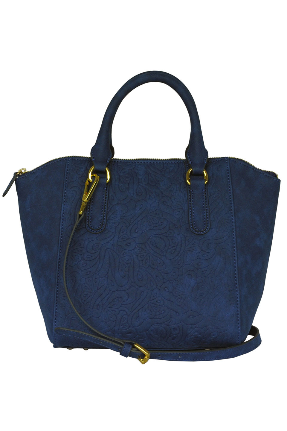 LOIS LAMB LEATHER HANDBAG IN DARK BLUE