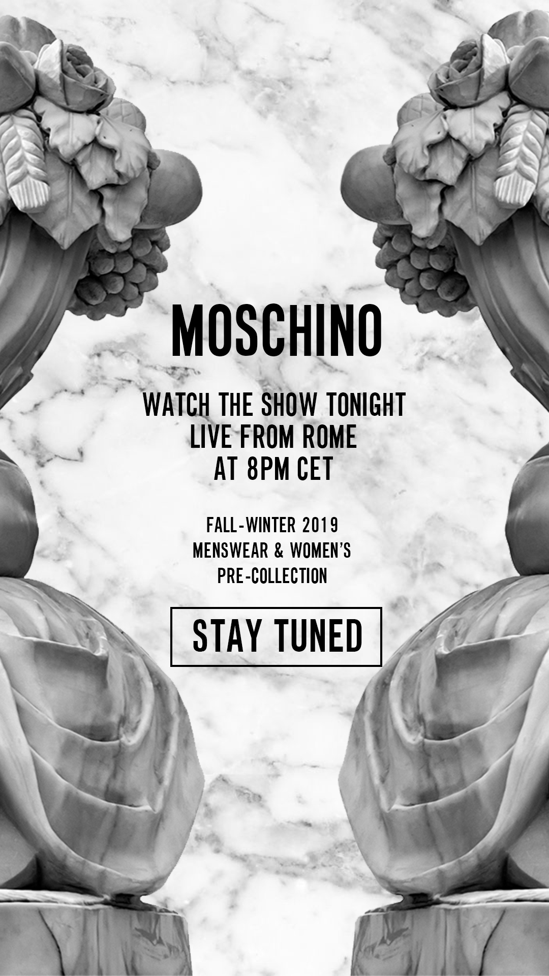Watch the show tonight live from Rome at 8pm CET - Fall/Winter 2019
