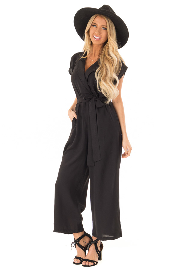 2ef19465f660 Midnight Black Jumpsuit with Notched Lapel and Front Tie
