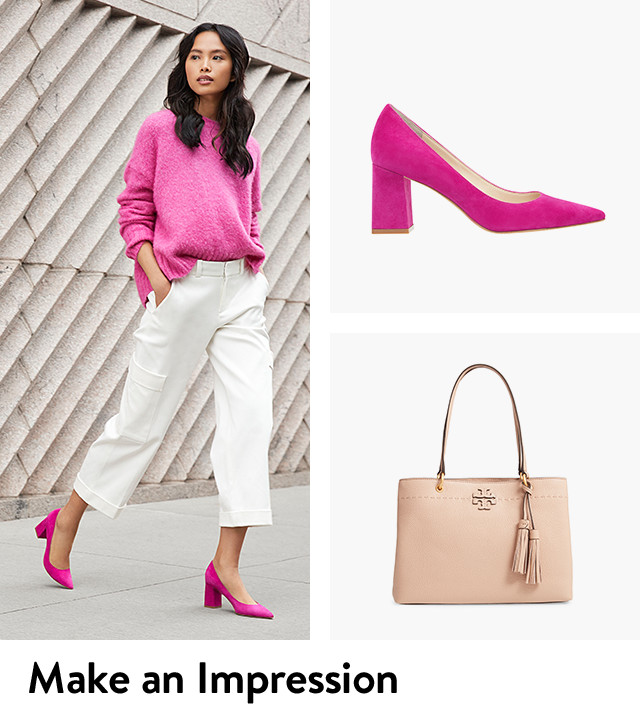 Make an impression at work with office-approved bags and shoes.