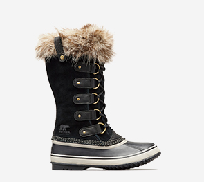 Profile of a black Joan of Arctic boot on a white background