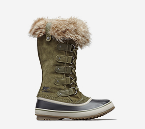 Profile of a nori  Joan of Arctic boot on a white background