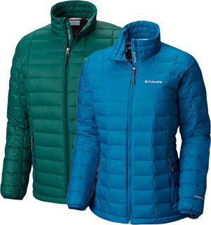 Two Columbia insulated puffy jackets.