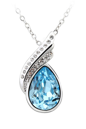 CRYSTAL NECKLACE IN SILVER AND BLUE