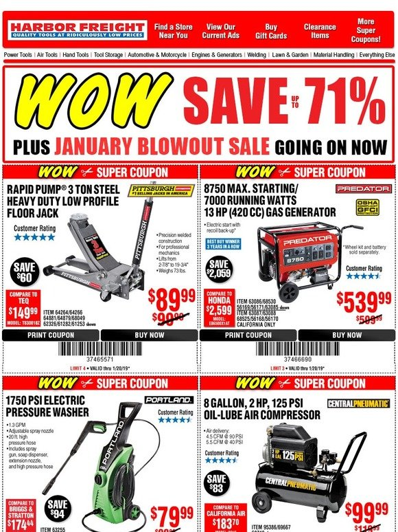 Harbor Freight: JUST ADDED: 20 Super Coupons • PLUS January Blowout