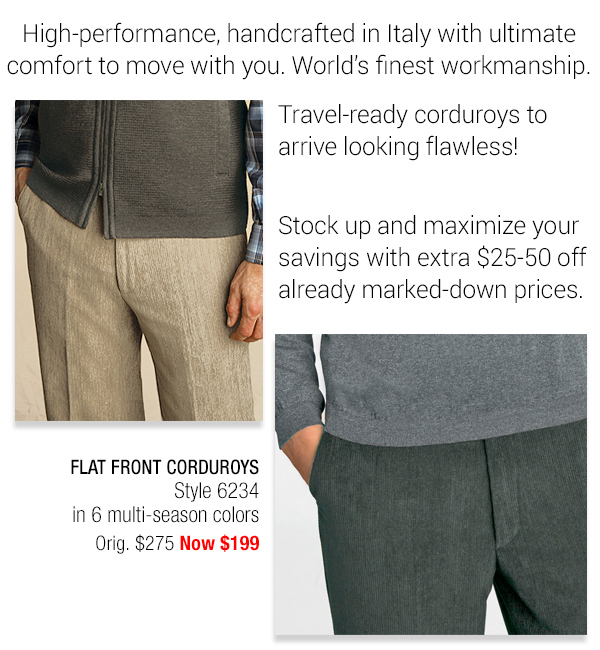Wrinkle-resistant Corduroy Trousers - Style 6234