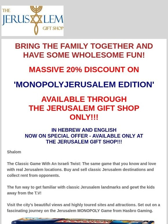 Jerusalem Biblical Market: MONOPOLY JERUSALEM EDITION - ONLY