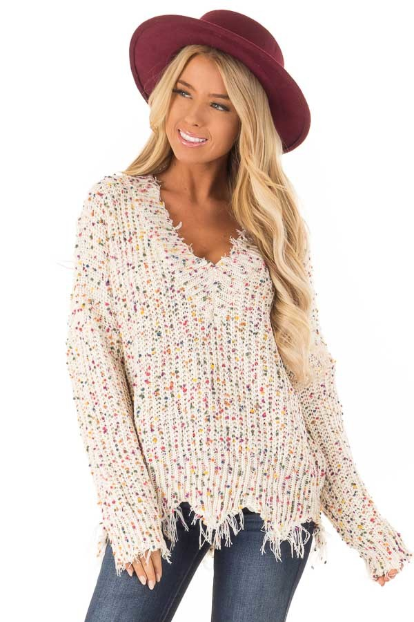 599334d82a75 ... Cream Distressed V Neck Sweater with Multi Color Dot Detail