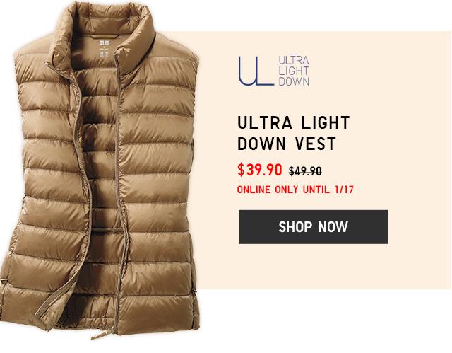 ULTRA LIGHT DOWN VEST $39.90 - SHOP NOW