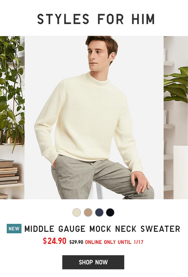 MIDDLE GAUGE MOCK NECK SWEATER $24.90 - SHOP NOW