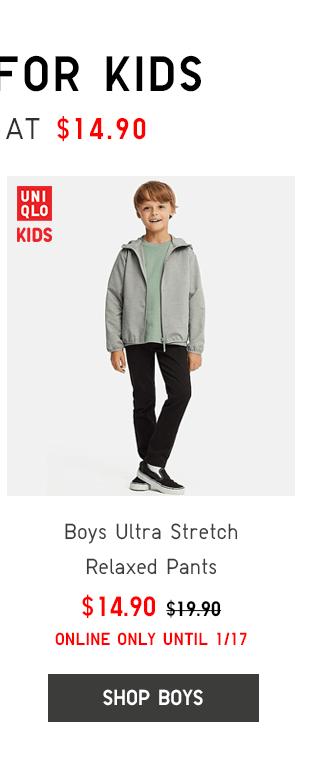 BOYS ULTRA STRETCH RELAXED PANTS $14.90 - SHOP BOYS