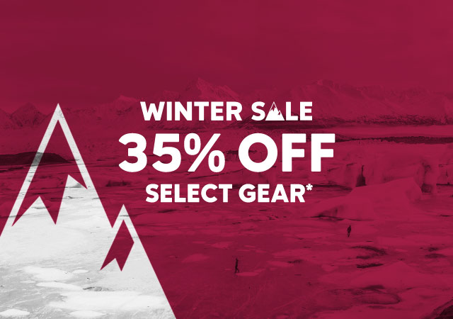 Winter Sale 25% Off Select Gear on a purple background with an illustrated mountain peak.