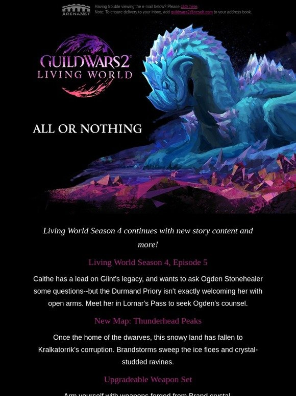 ArenaNet/Guild Wars 2: Battle the Elder Crystal Dragon in Guild Wars