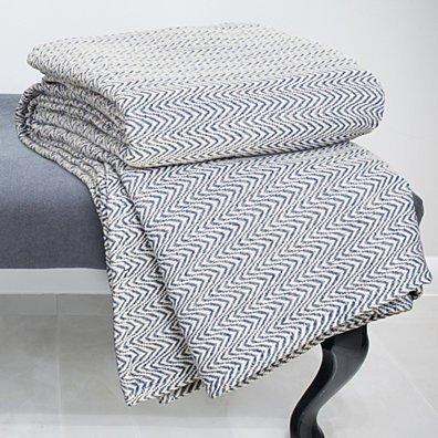 Lavish Home Chevron 100% Cotton Luxury Soft Blanket - King - Blue
