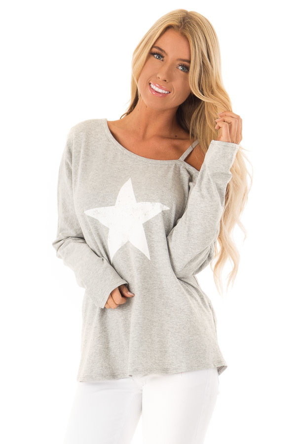 72aabfa90fc Champagne Waffle Knit Top with Long Sleeve and Ribbed Detail, Heather Grey  Cold Shoulder Top with Star Graphic ...